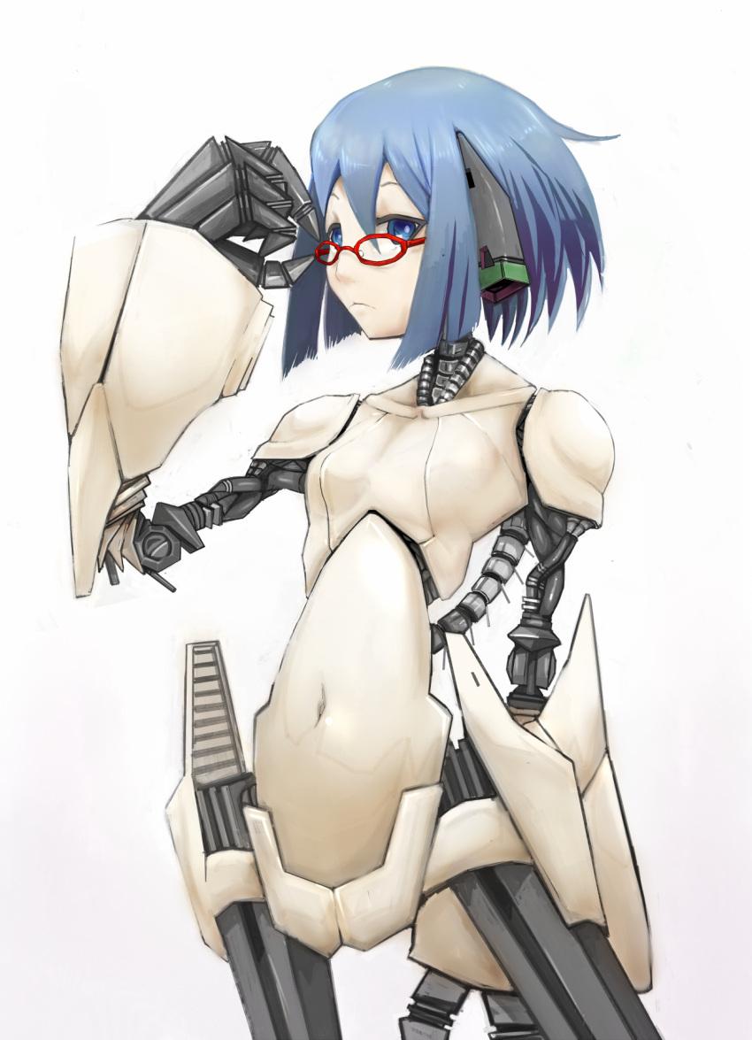 adjusting_glasses android_(sekaiju) blue_eyes blue_hair cable glasses highres kenshin navel red-framed_glasses robot_joints sekaiju_no_meikyuu sekaiju_no_meikyuu_3 short_hair solo spine