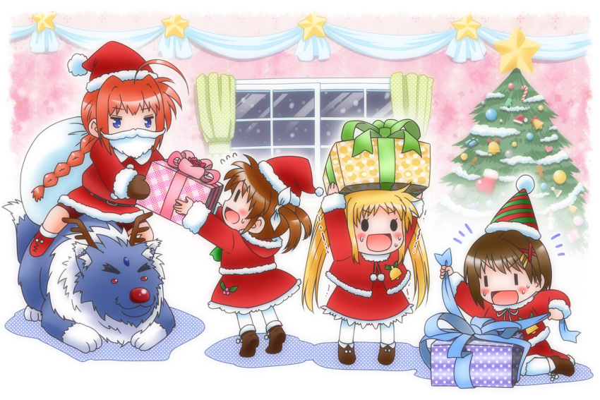0_0 4girls :d ahoge ankle_boots antlers arms_up bangs beard bell belt bike_shorts black_eyes blonde_hair blue_eyes boots braid brown_hair buttons capelet chibi christmas christmas_ornaments christmas_tree coat curtains dress facial_hair fate_testarossa flying_sweatdrops forehead_jewel fur_trim gift hair_ornament hair_ribbon hairclip happy hat holding holding_gift hood indoors lace lace-trimmed_dress long_hair lyrical_nanoha mistletoe mittens motion_lines multiple_girls night night_sky o_o on_floor open_mouth pantyhose payot plaid polka_dot red_eyes red_hair red_nose redhead reindeer_(cosplay) ribbon riding sack santa_(cosplay) santa_costume santa_hat shadow shinozuki_takumi short_hair short_twintails sitting sky smile snow standing star striped sweat takamachi_nanoha tiptoes trembling twin_braids twintails unwrapping very_long_hair vita wariza white_legwear window wolf yagami_hayate zafira