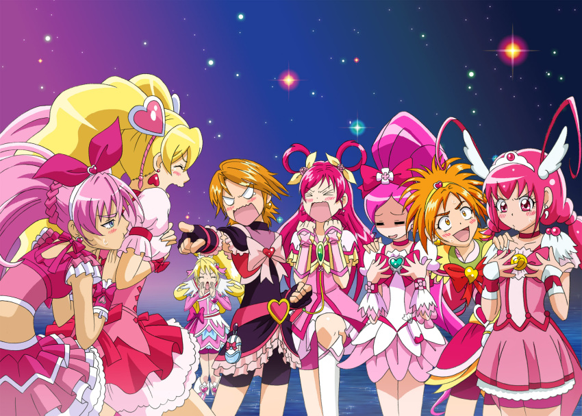 6+girls aida_mana bike_shorts blonde_hair blue_eyes bow breast_envy brown_hair choker color_connection cure_black cure_bloom cure_blossom cure_dream cure_happy cure_heart cure_melody cure_peach dokidoki!_precure dress earrings fingerless_gloves fresh_precure! futari_wa_precure futari_wa_precure_splash_star gloves hair_ornament hair_rings half_updo hanasaki_tsubomi head_wings heart heartcatch_precure! highres hoshizora_miyuki houjou_hibiki hyuuga_saki jewelry long_hair magical_girl misumi_nagisa momozono_love multiple_girls open_mouth pink_eyes pink_hair pointing ponytail precure precure_all_stars short_hair shorts_under_skirt smile_precure! suite_precure tiara twintails yes!_precure_5 yumehara_nozomi