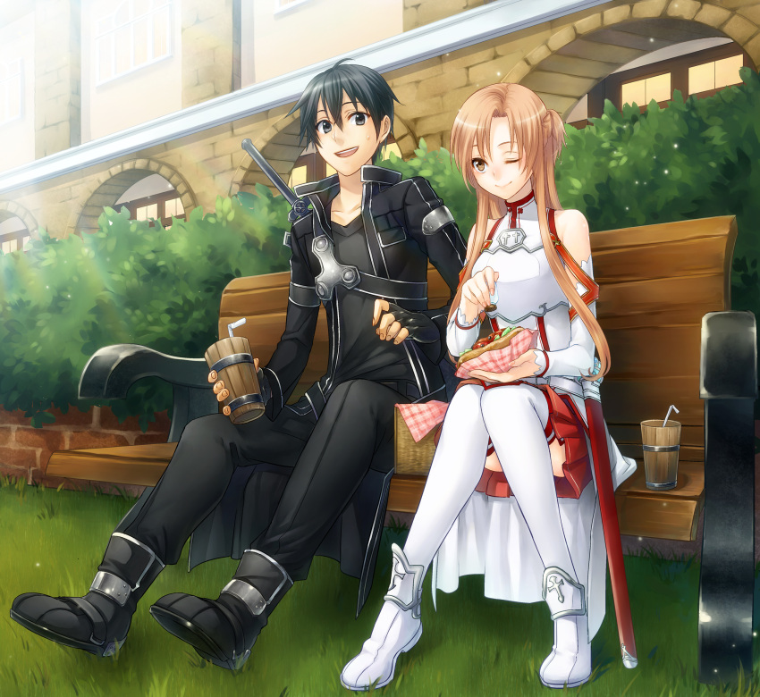 1boy 1girl asuna_(sao) bench black_eyes black_hair brown_eyes brown_hair detached_sleeves drink eating female fingerless_gloves gloves hotdog kirito long_hair male meguritei short_hair sitting sword_art_online thigh-highs wink yuuki_asuna