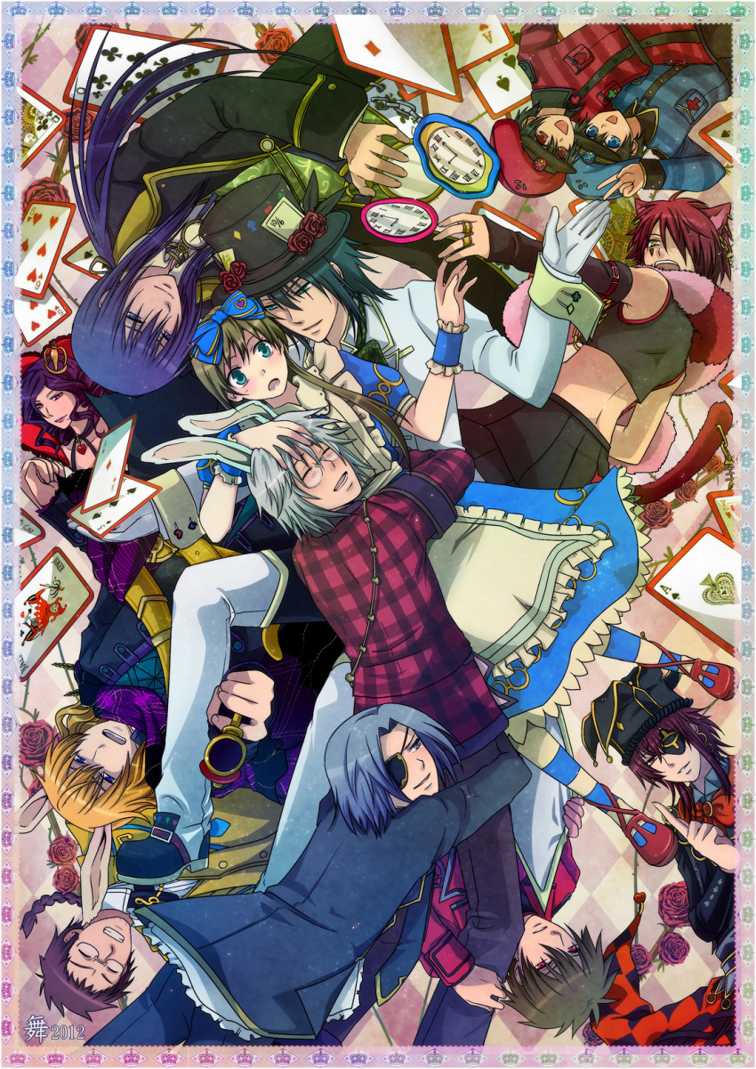 2girls 6+boys ace_(kuni_no_alice) alice_liddell angry animal_ears apron aqua_eyes armband belt black_hair black_shoes blonde_hair blood_dupre blue_eyes blue_hair blush boris_airay bow bowtie brown_hair card cat_ears catboy chain child clock closed_eyes cross_laced_shoes crown dress earrings elliot_march eyepatch feather_boa fingerless_gloves flower formal frills glasses gloves green_eyes grey_eyes grey_hair grin gun hair_bow hair_ornament hat heart heart_no_kuni_no_alice hug jacket jewelry joker_(kuni_no_alice) julius_monrey long_hair long_sleeves mary_gowland multiple_boys multiple_girls necktie nightmare_gottschalk open_mouth pants peter_white piercing pink_hair pointing_gun ponytail puffy_sleeves purple_hair queen rabbit_ears red_eyes red_shoes redhead ribbon ring rose scarf shoes short_hair shorts siblings sleeveless sleeveless_shirt smile socks striped striped_socks suit tail tattoo top_hat twins v violet_eyes vivaldi weapon white_gloves white_hair wristband yellow_eye