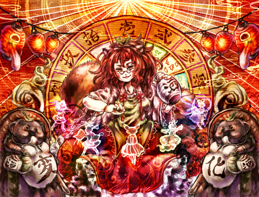 1girl :3 brown_eyes brown_hair chouchin_obake futatsuiwa_mamizou glasses gourd highres inari_(flandoll-scarlet-devil) kaku_seiga lantern leaf leaf_on_head miyako_yoshika mononobe_no_futo paper_lantern pince-nez skirt smoke soga_no_tojiko tanuki touhou toyosatomimi_no_miko wide_sleeves