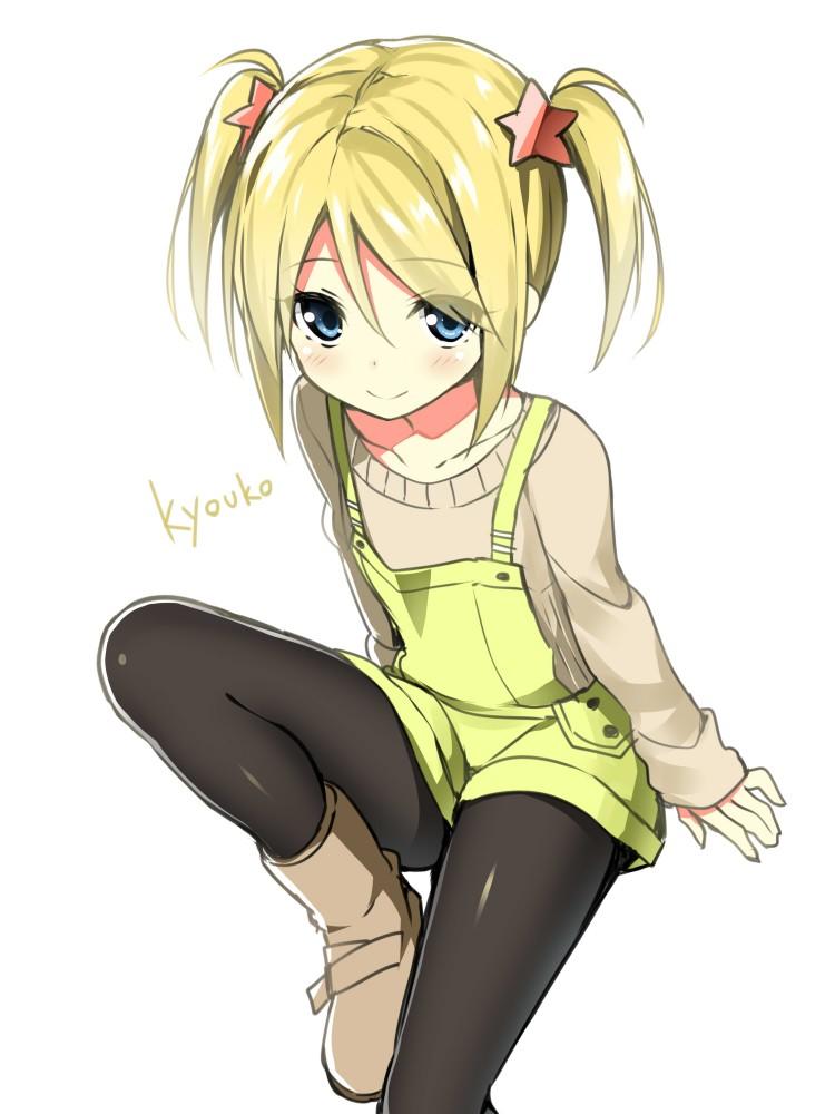 Safebooru - 1girl black legwear blonde hair blue eyes ...