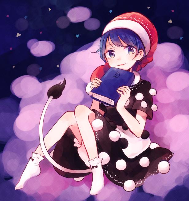 1girl Bare Legs Black Dress Blue Eyes Blue