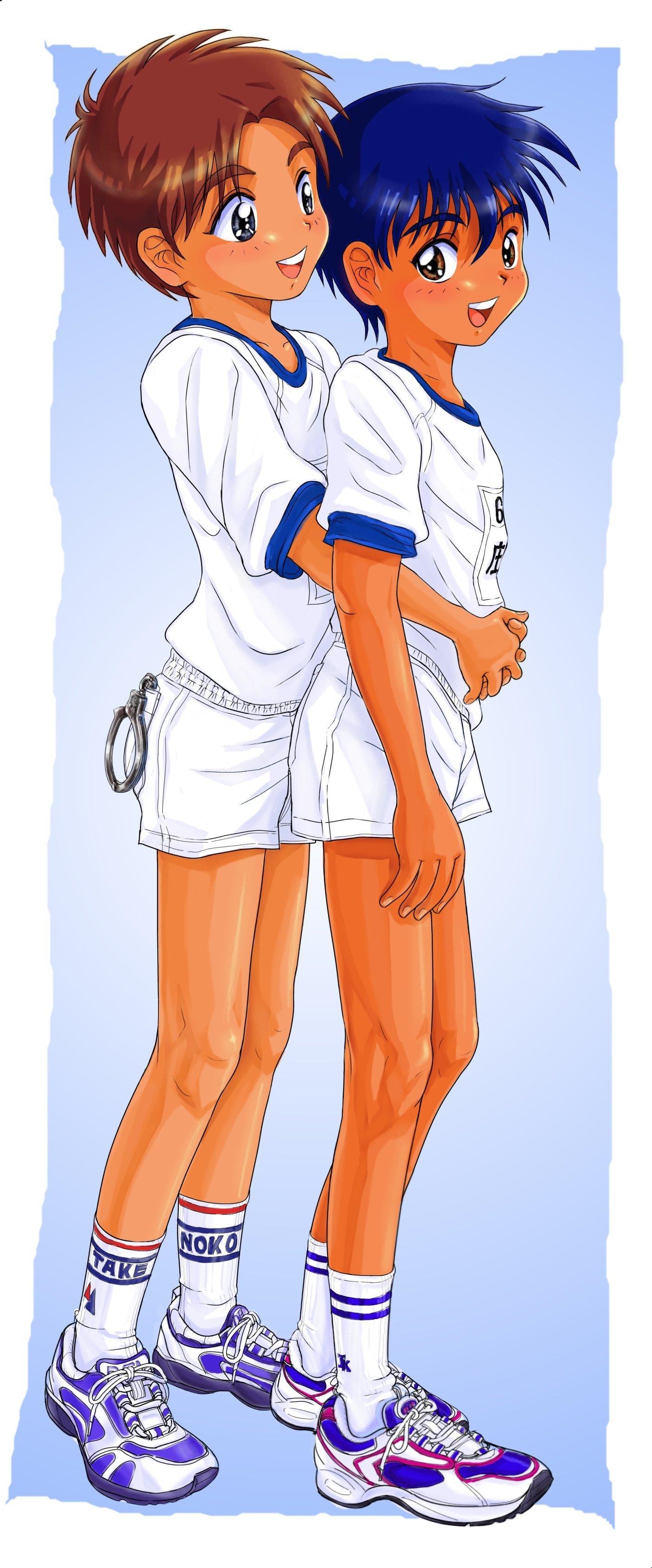 Safebooru - 2boys blush child hug male focus multiple boys