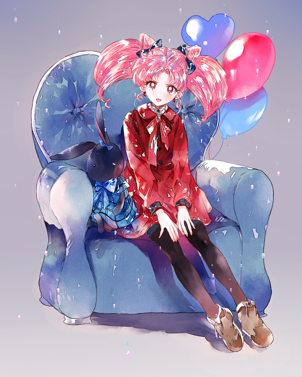 Safebooru - >:p 1girl :p ahma armchair balloon bishoujo ...