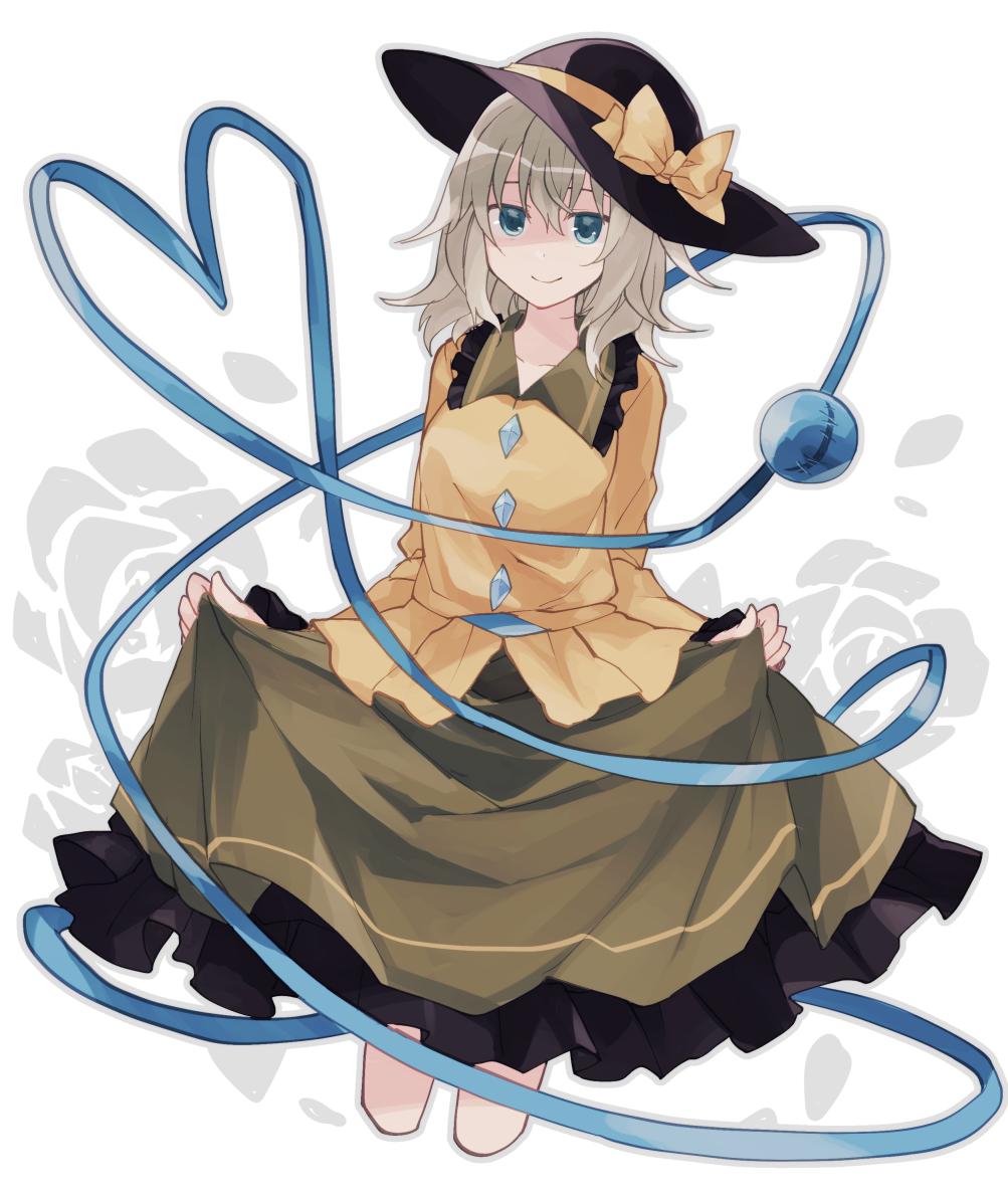 1girl Belt Black Hat Blue Belt Blue Eyes Bow
