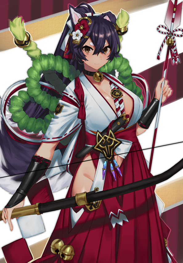 Safebooru - 1girl animal ears arrow bangs black hair bow breasts choker cleavage crossed bangs dog ears engawa (l sv) hair ornament hakama japanese clothes large breasts last period looking at viewer red hakama smile solo standing thick eyebrows - 2753115 - 웹