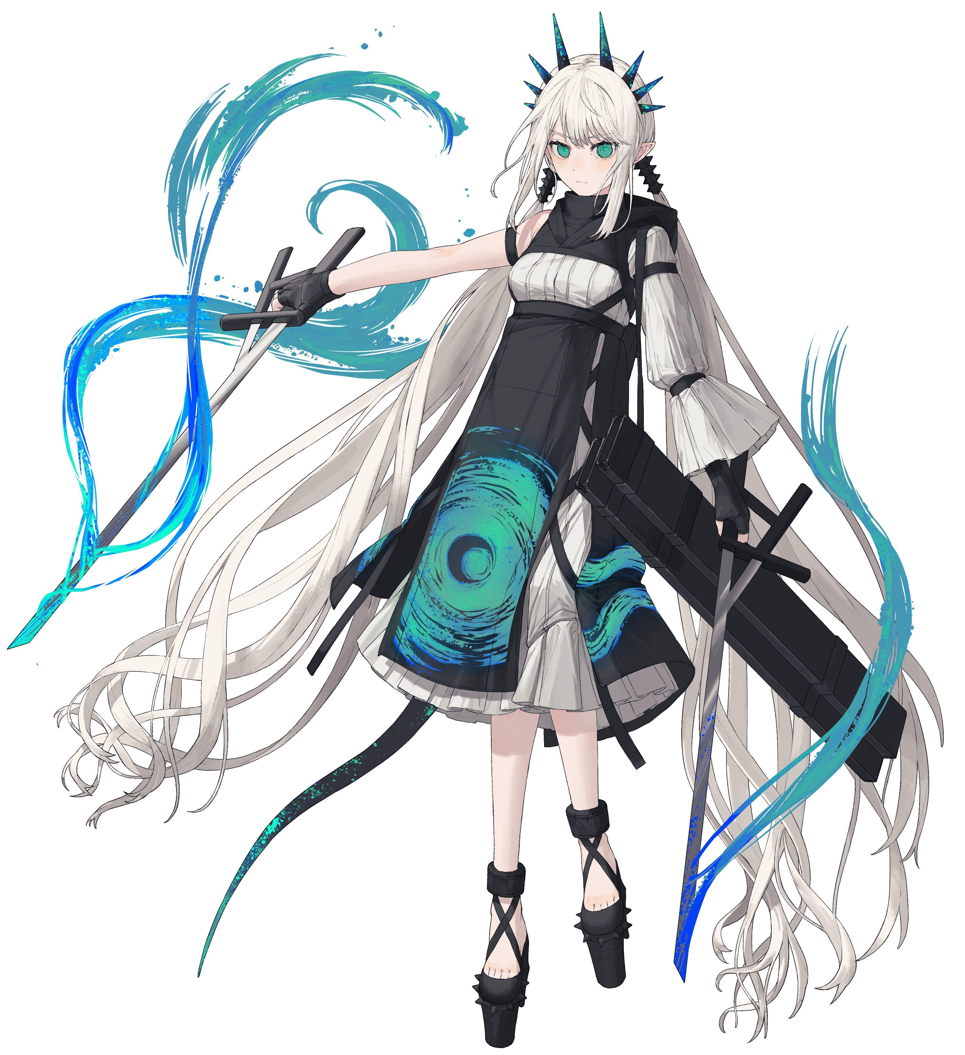 Safebooru - 1girl absurdly long hair arms up bangs belt