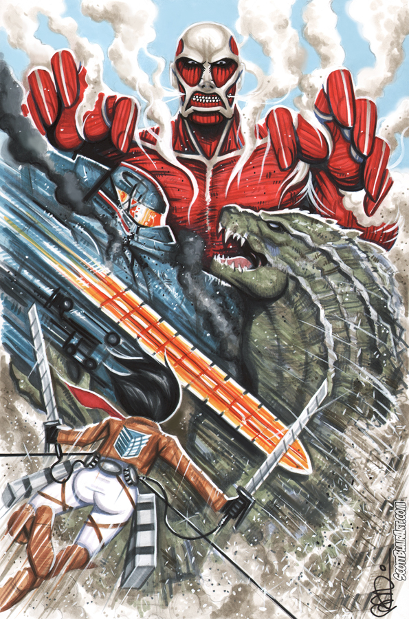 Safebooru - colossal titan crossover gipsy danger godzilla ...