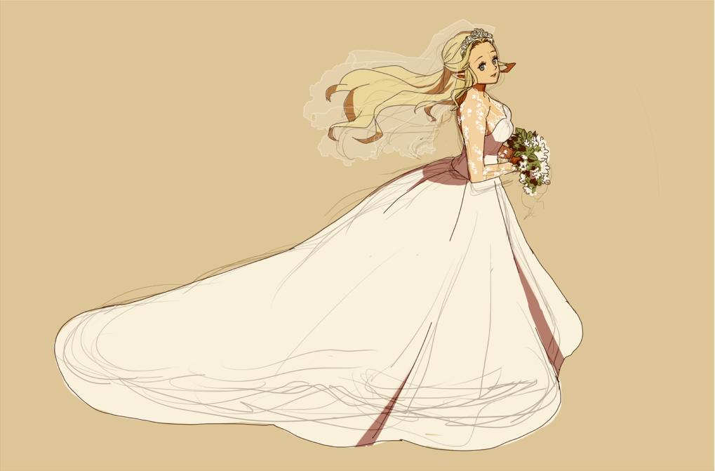 Safebooru blue eyes bouquet dress elf flower long hair for Legend of zelda wedding dress