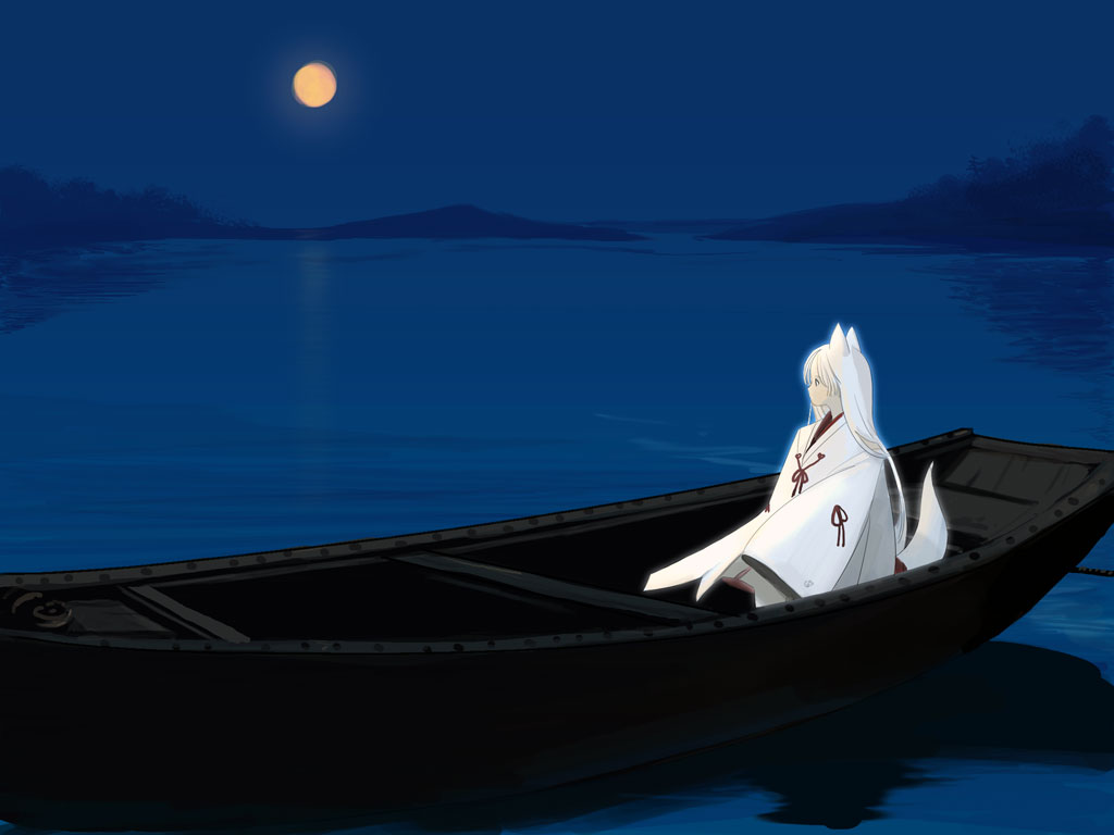 картина лодка луна