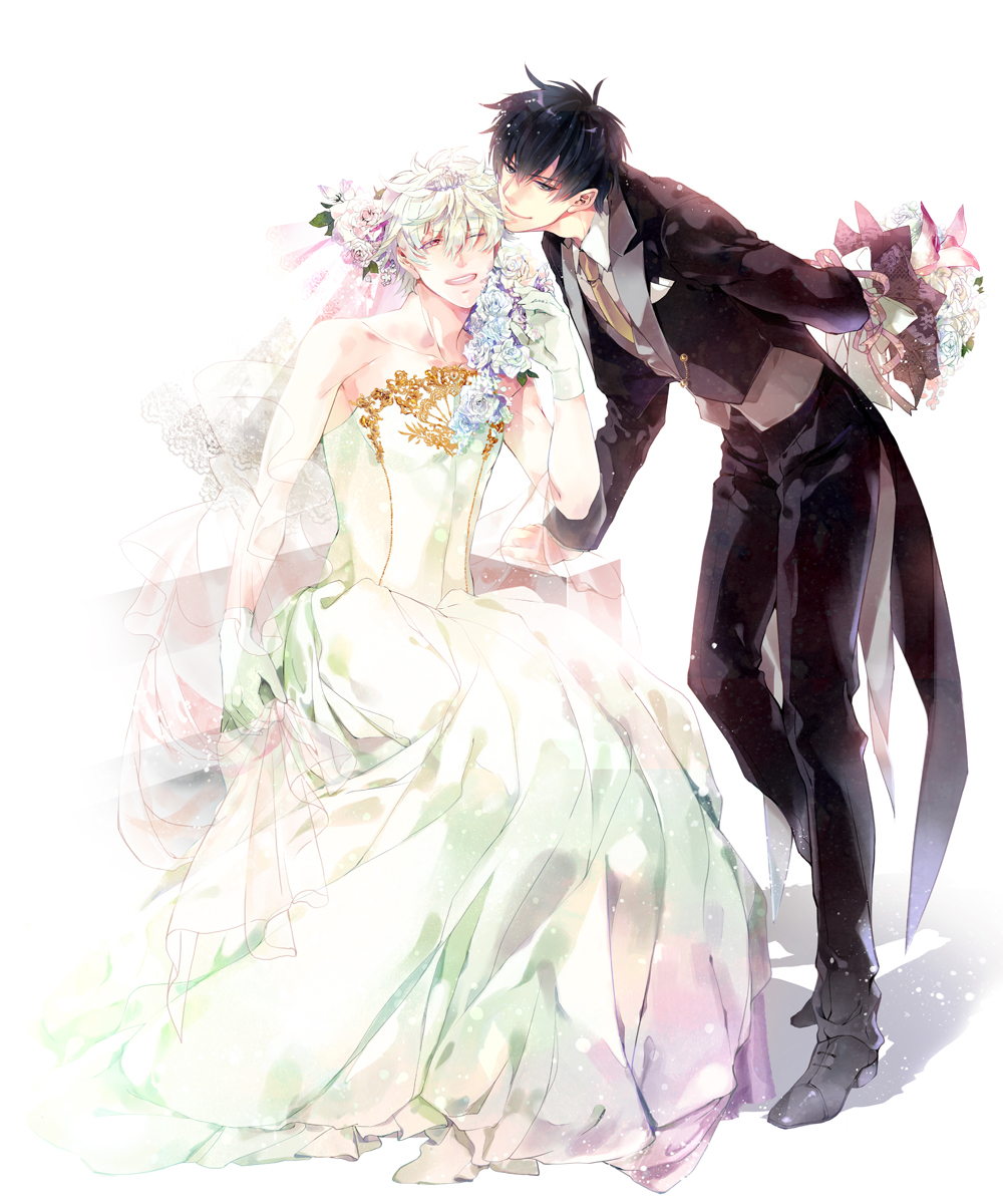 Poisonyaoi Short Wedding Hairstyles: 2boys Black Hair Blue Eyes Bouquet Bridal Veil