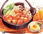 aguro alcohol beer bowl chopsticks egg food meat mushroom no_humans original steam sukiyaki tofu rating:Safe score:0 user:danbooru