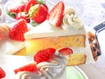 cake dessert food fruit icing layer_cake nagi_sakura no_humans original photorealistic serving_spatula spatula sponge_cake strawberry strawberry_shortcake whipped_cream rating:Safe score:2 user:danbooru