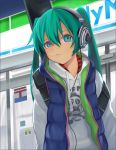1girl aqua_eyes aqua_hair family_mart hatsune_miku headphones highres kari_kenji solo twintails vocaloid rating:Safe score:5 user:danbooru