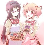 2girls :d akemi_homura apron basket black_hair blush bow braid checkerboard_cookie cookie food gift gift_bag glasses hair_bow hair_ribbon hairband holding_gift juliet_sleeves kaname_madoka long_hair long_sleeves mahou_shoujo_madoka_magica multiple_girls open_mouth pink_eyes pink_hair plaid plaid_skirt pocket puffy_sleeves ribbon school_uniform skirt smile twin_braids twintails violet_eyes yamada_ako rating:Safe score:1 user:danbooru