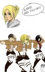 2girls 3boys annie_leonhardt armin_arlert belt bertholt_fubar black_hair blonde_hair blue_eyes boots brown_hair dancing drawfag english eren_jaeger expressionless green_eyes hair_up highres jacket long_hair michael_jackson mikasa_ackerman multiple_boys multiple_girls parody pose posing pun scarf shingeki_no_kyojin short_hair simple_background sketch smile smooth_criminal sweat thigh_boots thighhighs three-dimensional_maneuver_gear uniform white_background rating:Safe score:3 user:danbooru