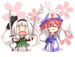 2girls chibi ghost hairband hat katana konpaku_youmu mazume multiple_girls pink_eyes pink_hair ribbon saigyouji_yuyuko short_hair silver_hair sword touhou triangular_headpiece weapon rating:Safe score:1 user:danbooru