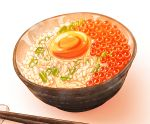 bowl chopsticks egg food imizu_(nitro_unknown) no_humans rice roe spring_onion still_life rating:Safe score:2 user:danbooru