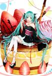 1girl absurdres aqua_eyes aqua_hair cake chocolate cosplay food fruit green_eyes hair_ribbon hatsune_miku highres in_food japanese_clothes kimono kimono_skirt lammmmmmbo long_hair machine-doll_wa_kizutsukanai minigirl obi open_mouth ribbon sash sitting solo strawberry thighhighs twintails very_long_hair vocaloid yaya_(machine-doll) yaya_(machine-doll)_(cosplay) rating:Safe score:1 user:danbooru