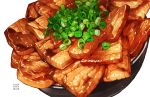 bacon bowl food meat momiji_mao no_humans original spring_onion vegetable white_background rating:Safe score:0 user:danbooru
