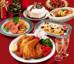 alcohol cake champagne champagne_glass christmas_cake food fruit grapes jiji_(kbj0225) making_of merry_christmas no_humans original photorealistic pork strawberry tomato turkey_(food) rating:Safe score:2 user:danbooru