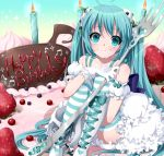 1girl :t ahoge aqua_eyes aqua_hair boots cake candle cross-laced_footwear food food_as_clothes food_themed_clothes fork fruit gloves happy_birthday hatsune_miku in_food knee_boots lace-up_boots long_hair minigirl musical_note myutsusama sitting solo strawberry striped striped_legwear thighhighs very_long_hair vocaloid rating:Safe score:2 user:danbooru