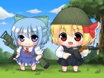 :d akm akms assault_rifle bad_id blonde_hair blue_eyes blue_hair blush bow chibi cirno fang gun hair_bow hair_ribbon hand_on_hip handgun helmet kyokutou_hentai_samurai makarov_pm multiple_girls open_mouth pistol red_eyes ribbon rifle rocket_launcher rumia short_hair smile strela-2 team_9 touhou weapon wings rating:Safe score:0 user:Gelbooru