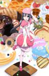 1girl :o absurdres basket black_hair cake cookie elbow_gloves food food_themed_clothes gloves hat heart highres k-on! leg_up macaron minigirl nakano_azusa oku_no_shi pancake pink_gloves pink_legwear red_eyes solo standing_on_one_leg star twintails waffle rating:Safe score:2 user:danbooru