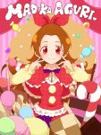 1girl alternate_costume ashita_wa_hitsuji bangs_pinned_back blush bow brown_hair candy capelet character_name cookie dokidoki!_precure food hair_bow highres lollipop long_hair macaron madoka_aguri precure red_eyes smile solo sweets rating:Safe score:0 user:danbooru