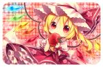 1girl apple blonde_hair blush chibi dress flandre_scarlet food fruit hat kagami_leo long_hair plaid plaid_background red_eyes side_ponytail solo touhou wings rating:Safe score:0 user:danbooru