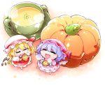 2girls :3 b-q bat_wings blonde_hair blue_hair chibi closed_eyes dress fangs flandre_scarlet food hat hat_ribbon jack-o'-lantern minigirl mob_cap multiple_girls open_mouth pink_dress pumpkin pumpkin_soup red_dress remilia_scarlet ribbon siblings sisters smile soup touhou wings rating:Safe score:1 user:danbooru
