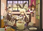 >:o >_< 3girls :d :o amatsukaze_(kantai_collection) bare_shoulders binoculars black_bow blonde_hair blue_skirt bow brown_eyes brown_hair cooking cooking_pot crop_top curry eijima_moko elbow_gloves food gloves hair_bow hair_ornament hair_tubes hairband headgear highleg kantai_collection kitchen ladle long_hair microskirt multiple_girls neckerchief open_mouth pleated_skirt rensouhou-chan rensouhou-kun sailor_collar sailor_dress shimakaze_(kantai_collection) short_hair silver_hair skirt smile triangle_mouth two_side_up white_gloves yukikaze_(kantai_collection) rating:Safe score:2 user:danbooru