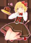 1girl blonde_hair cake food fork hair_ribbon hands_on_own_cheeks hands_on_own_face one_eye_closed red_eyes ribbon rumia short_hair skirt smile solo touhou witoi_(roa) rating:Safe score:1 user:danbooru