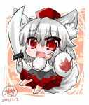 1girl animal_ears barefoot blush commentary_request dated fang hair_between_eyes inubashiri_momiji long_hair long_sleeves no_shoes no_socks noai_nioshi open_mouth red_eyes shield signature silver_hair solo sword tail touhou weapon wolf_ears wolf_tail rating:Safe score:2 user:danbooru