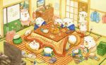 bear clothes controller family food fruit heater kotatsu no_humans orange original peeling picture_(object) remote_control st.kuma table tea television rating:Safe score:1 user:danbooru