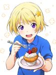 1boy blonde_hair blueberry cupcake food food_on_face fork fruit hair_ornament hairclip idolmaster idolmaster_side-m pierre_(idolmaster) shirt short_hair smile strawberry violet_eyes rating:Safe score:2 user:danbooru