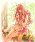 barefoot bikini_top blush bracelet breasts brown_eyes cat_ears cat_tail child cleaning cleavage closed_eyes collar fangs feet hug hug_from_behind jewelry licking long_hair mother_and_daughter navel original red_hair redhead sandals shoe_dangle tail wanana rating:Safe score:4 user:Gelbooru