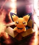 box cardboard_box for_adoption in_container no_humans pichu pokemon pokemon_(creature) rain sad tears toitoi508 rating:Safe score:3 user:Gelbooru