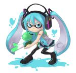 1girl black_skirt blue_eyes blue_hair boots cosplay hatsune_miku hatsune_miku_(cosplay) headphones heart holding inkling long_hair mask necktie pleated_skirt shoumaru_(gadget_box) simple_background skirt smile solo splatoon spring_onion super_soaker tentacle_hair thigh-highs thigh_boots twintails vocaloid white_background zettai_ryouiki rating:Safe score:2 user:danbooru