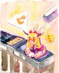chibi fare_gate horns ibuki_suika long_hair minigirl parody pun ribbon shiroaisa suica touhou traditional_media translated watercolor watercolor_(medium) rating:Safe score:0 user:Gelbooru