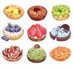 apple artist_request blueberry cake egg_tart fig food fruit no_humans oreo pastry pecan pie strawberry rating:Safe score:2 user:danbooru