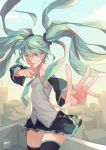 1girl blue_hair boots bridal_gauntlets full_body green_eyes grey_background hatsune_miku long_hair looking_at_viewer nanoless necktie skirt smile solo thigh-highs thigh_boots twintails very_long_hair vocaloid  rating:safe score:1 user:emhps