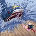 blue_hair fishing getter hat hikari_(pokemon) pokemon pokemon_(game) pokemon_dppt scarf shark sharpedo skirt water rating:Safe score:1 user:Gelbooru