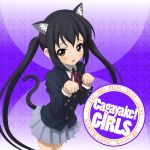 animal_ears black_hair brown_eyes cat_ears cat_pose cat_tail cd_cover cover highres k-on! long_hair mzd421 nakano_azusa paw_pose school_uniform solo tail twintails rating:Safe score:0 user:Gelbooru