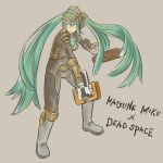 armor bad_id boots cosplay crossover dead_space green_eyes green_hair gun hako_live hatsune_miku isaac_clarke isaac_clarke_(cosplay) long_hair plasma_cutter solo twintails very_long_hair vocaloid weapon rating:Safe score:2 user:Gelbooru