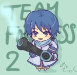 blue_eyes blue_hair chibi gun kaito lowres male parody scarf solo team_fortress_2 the_medic vitamin vocaloid weapon rating:Safe score:0 user:Gelbooru