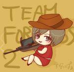 brown_hair chibi gun hat lowres meiko parody rifle sniper_rifle solo team_fortress_2 the_sniper vitamin vocaloid weapon rating:Safe score:0 user:Gelbooru