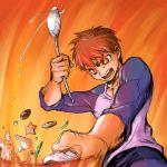 bad_id burning_eyes cooking emiya_shirou epic fate/stay_night fate_(series) fire hands male manly raglan_sleeves sketch solo yotarou rating:Safe score:3 user:Gelbooru